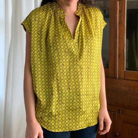 Michael Kors Yellow Print Tunic Top, Size S